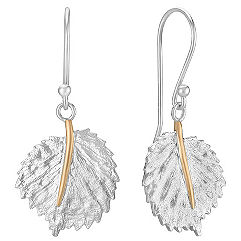 Sterling Silver and 14k Yellow Gold Leaf Dangle Earrings