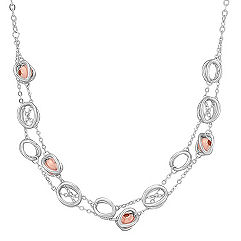 Sterling Silver and Rose Bead Necklace (18 in.)
