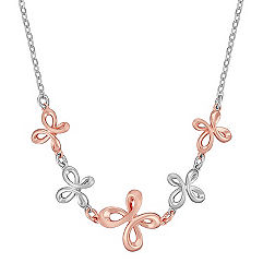 Sterling Silver and Rose Twist Necklace (18 in.)