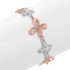 Sterling Silver and Rose Twist Bracelet (7 in.)