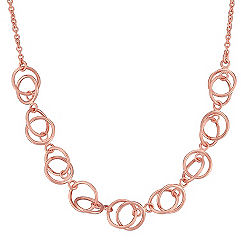 Rose Sterling Silver Circle Necklace (18 in.)
