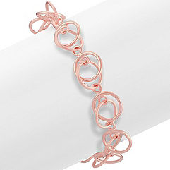 Rose Circle Sterling Silver Bracelet (7 in.)