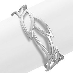 Leaf Sterling Silver Cuff Bracelet (7 in.)