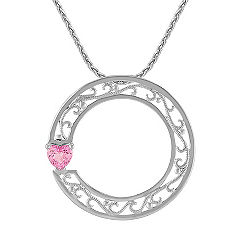 Heart Shaped Pink Sapphire and Sterling Silver Circle Sweetheart Pendant (18 in.)