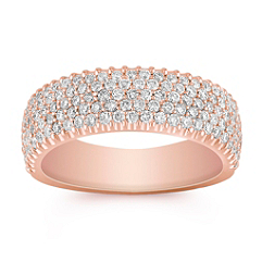 Rose Gold Round Diamond Ring with Pave Setting