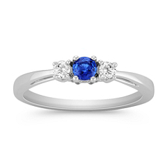 Round Sapphire and Diamond Three-Stone Ring