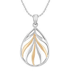 Sterling Silver and 18k Yellow Gold Teardrop Pendant (18 in.)