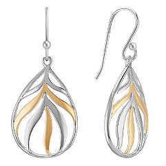 Sterling Silver and 18k Yellow Gold Tear-Drop Earrings