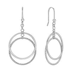 Double Circle Sterling Silver Dangle Earrings