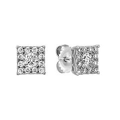 Square Cluster Earrings with Round Diamonds