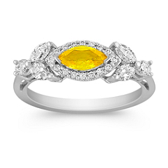 Marquise Yellow Sapphire, Marquise and Round Diamond Ring