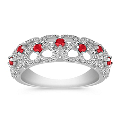 Round Ruby and Diamond Ring with Pave Setting