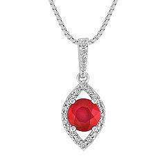 Round Ruby and Diamond Contemporary Pendant (18 in.)