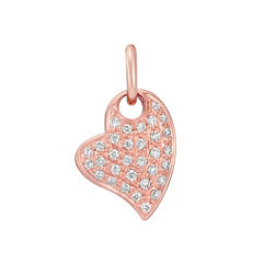 Round Diamond Heart Charm in 14k Rose Gold