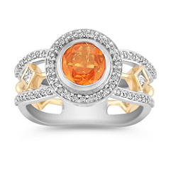 Round Orange Sapphire, Princess Cut and Round Diamond Ring in Two-Tone Gold