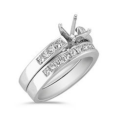 Cathedral Princess Cut Diamond Wedding Set with Channel Setting