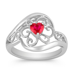 Heart-Shaped Ruby and Sterling Silver Ring