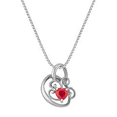 Heart-Shaped Ruby and Sterling Silver Heart Pendant (18)