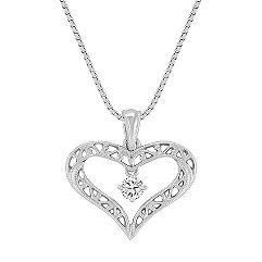 Round Diamond and Sterling Silver Lattice Heart Pendant (18 in.)