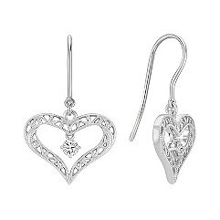Round Diamond and Sterling Silver Lattice Heart Earrings