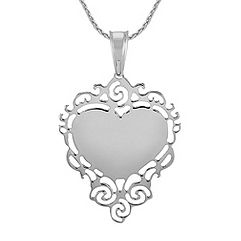 Engravable Sterling Silver Lace Heart Pendant (24 in.)