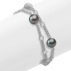 9mm Cultured Tahitian Pearl and Sterling Silver Bracelet (8 in.)