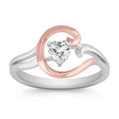 Heart-Shaped White Sapphire Ring in 14k Rose Gold and Sterling Silver