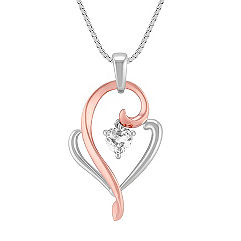 Heart Shaped White Sapphire, 14k Rose Gold, and Sterling Silver Pendant (18 in.)