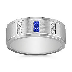 Princess Cut Sapphire and Diamond Ring