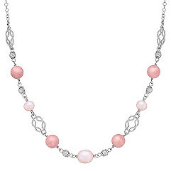 Rhodonite, 6.5-9mm Pink Cultured Freshwater Pearl, and Sterling Silver Necklace (20)