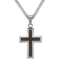 Stainless Steel with Black and Red Carbon Fiber Cross Necklace (24 in.)