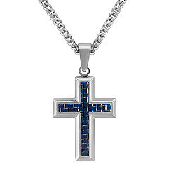 Stainless Steel with Black and Blue Carbon Fiber Cross Necklace (24 in.)