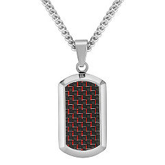 Black and Red Carbon Fiber and Stainless Steel Dog Tag Necklace (24 in.)