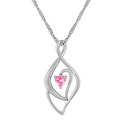 Heart-Shaped Pink Sapphire and Sterling Silver Pendant (18 in.)