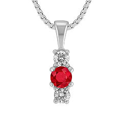 Round Ruby and Diamond Three-Stone Pendant (18 in.)