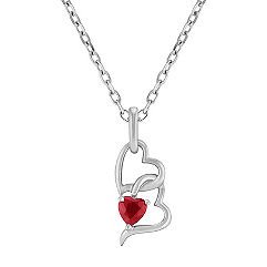 Heart Shaped Ruby and Sterling Silver Heart Pendant (18 in.)