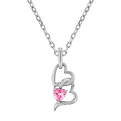 Heart Shaped Pink Sapphire and Sterling Silver Heart Pendant (18 in.)