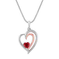Heart Shaped Ruby, Sterling Silver and 14k Rose Gold Pendant (18 in.)