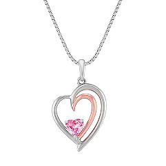 Heart Shaped Pink Sapphire, 14k Rose Gold, and Sterling Silver Pendant (18 in.)