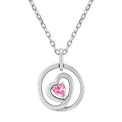 Heart Shaped Pink Sapphire and Sterling Silver Circle Pendant (18 in.)