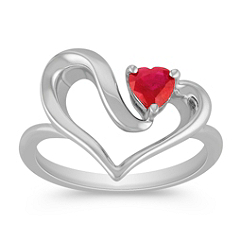 Heart Shaped Ruby and Sterling Silver Heart Ring