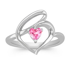 Heart Shaped Pink Sapphire and Sterling Silver Heart Ring
