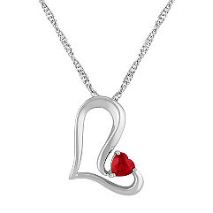 Heart-Shaped Ruby and Sterling Silver Heart Pendant (18 in.)