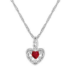 Heart Shaped Ruby and Sterling Silver Pendant (18 in.)