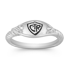 White Sapphire and Sterling Silver CTR Ring