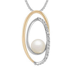 6mm Cultured Akoya Pearl and Round Diamond Pendant in Two-Tone Gold (18 in.)