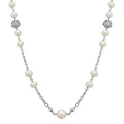 6.5-10mm Cultured Freshwater Pearl and Sterling Silver Necklace (30 in.)