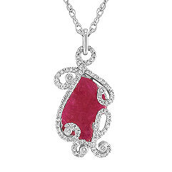 Freeform Rough Ruby Slab and Round Diamond Pendant (18 in.)