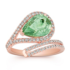 Pear Shaped Green Sapphire and Round Diamond Ring in Rose Gold