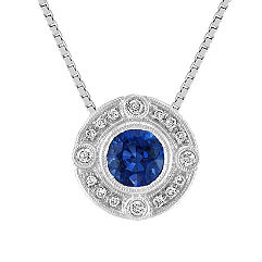 Vintage Round Sapphire and Diamond Circle Pendant (18)